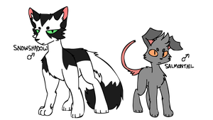 snowshadow and salmontail by jigsocks