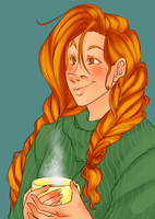 Carol Having A Hot Beverage by Rainabic