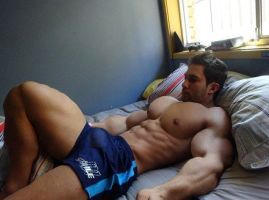 Sleeping Musclemorphed Hunk1 by free42dream