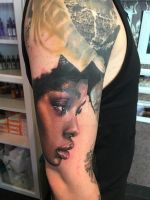 realistic color portrait tattoo by SelfmadeTattooBerlin