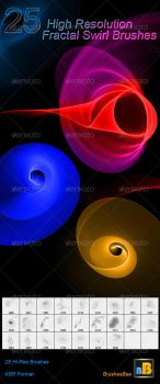 25 High-Res Fractal Swirl Photoshop Brushes by brightworld