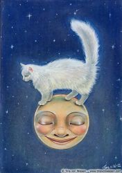 Cat on Moon. by wasteddreams