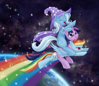 Wizard Riding a Unicorn on a Rainbow in Space by dstears