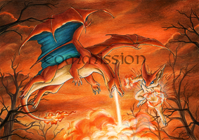 Commission: Victini and Charizard