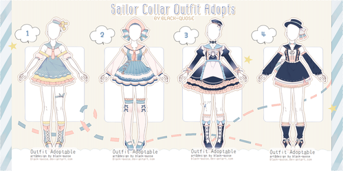 [CLOSED] Sailor Collar Outfit Adopts | Auction by Black-Quose
