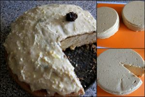 Vegan Smiley Cake and Cheese by WriterofDarkness