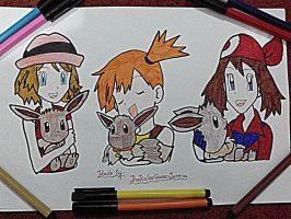 PokeGirls With Eevee(s)~Hand Drawing-22 by TheKalosQueenSerena