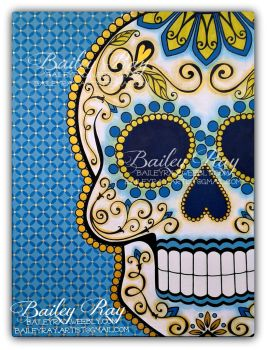Sugar Skull Painting in Blue/Gold 30x40 Acrylic by bailey-ray
