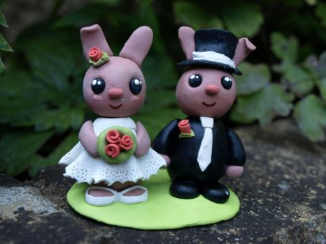 Bunny Wedding Cake Toppers by geekySquirrel