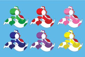 Yoshis in Eggs by gemstonelover49