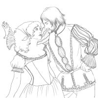 TA - Anna and Cesare Lineart by ChocoboGoddess