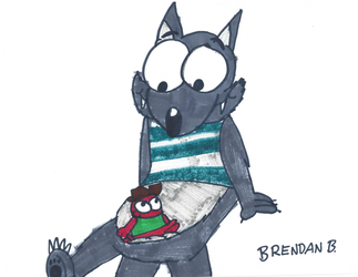 Squirt sitting on Frank's Belly by BrendanDoesArt