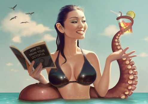 Gong Li and tentacle by PapaNinja