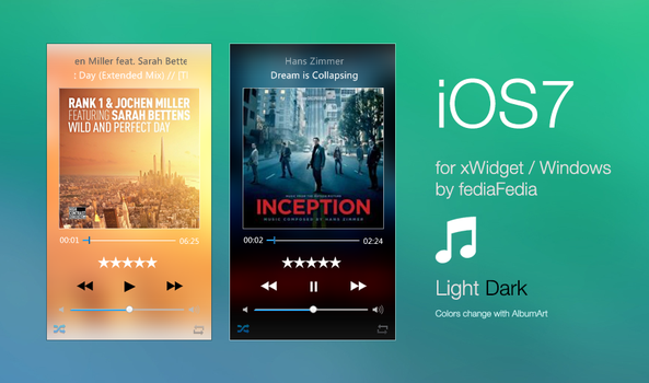 iOS7 Music Player for xWidget BETA2 by fediaFedia