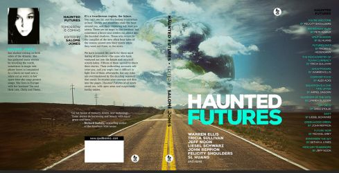 Hardcover book cover design for Haunted Futures by gaborcsigas