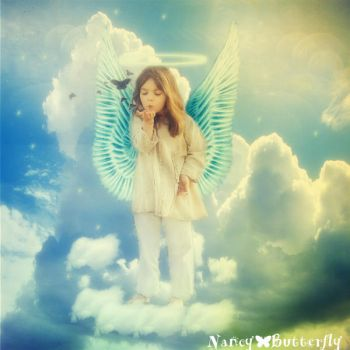 Angel in clouds by NancyButterfly7
