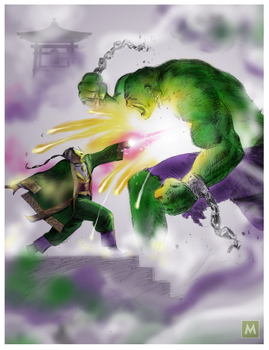 The Mandarin VS The Hulk by gregmcevoy