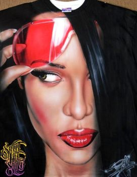 Aaliyah Airbrushed T-shirt by PrimoOne
