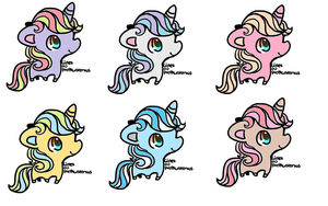 rainbow colored eye unicorns adopts OPEN by Pegasister15