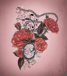 Locket and roses tattoo design by XxMortanixX