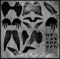 Feathered Angel Wings Brushes by Falln-Stock