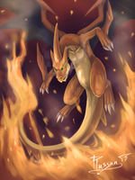 painting work : Mega Charizard by Piussun