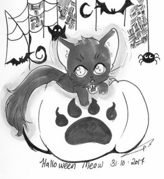 Day31-2017 Halloween Meow by lovelyfantasy