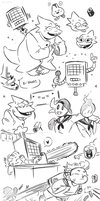 undertale month - sketchdump 4 by Dilutra
