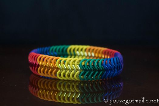 Stretchy Rainbow Chainmaille Bracelet by youvegotmaille