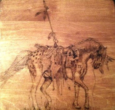 native american mustang pony wood burning by lilygirl04