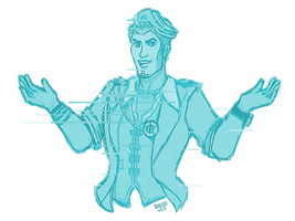 Handsome Jack glitch sketch by Alouisse-Ver