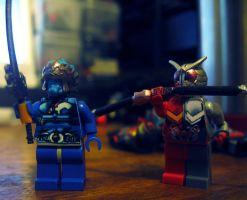 LEGO Kamen Rider W Heat MEtal Nazca Blue Shaft by Digger318