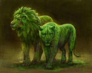 Mossy Lions by TamberElla