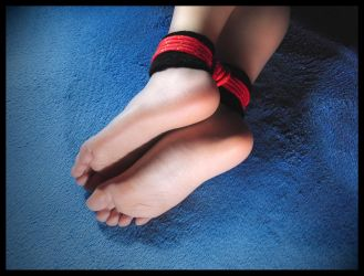 Tied ankles in red rope w black cuffs (bondage_3) by RopeFun