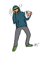 Tesco Guy (finished phone call sketch) by Pazzitka