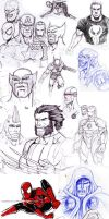 Superhero sketches compilation by OmaruIndustries