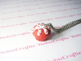 Red Velvet Cupcake Necklace by efeeha