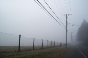 Abandoned foggy road by LilacGear