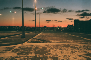 Winter sunset in the city by Yellow-with-holes