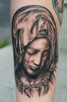 crying virgin mary tattoo by graynd