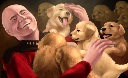 Captain Picard and Puppies by Gryphon-Shifter
