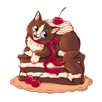 Black Forest Cat Cake by TrollGirl