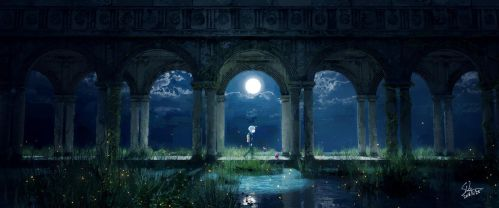The Moon and Fireflies by Skybase