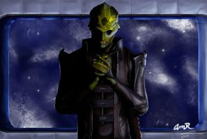 Thane Krios Praying by BloodyDragon117