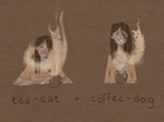 Tea-cat and coffee-dog by Kate-Kyrillion