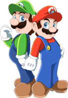 Mario and Luigi by TheLeoNamedGeo