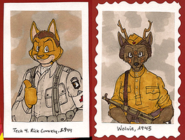 1940's Badges -- Rick + Wolvie by Geistlicher