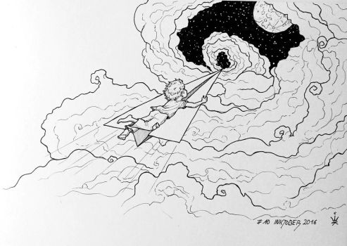 Inktober 2016 - 10: On the wings of Fantasy by Kirana