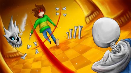 Chara vs. Sans [Wallpaper / Commission / Stream] by Jeyawue