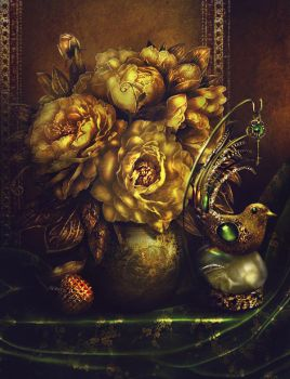 Golden peonies, lychee and clockwork nightingale by Incantata